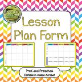 Lesson Plan Form for PreK and Preschool