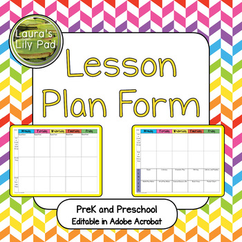 Lesson Plan Form for PreK and Preschool