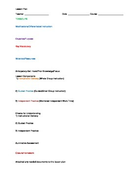 Lesson Plan Format - Word Format