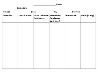 Lesson Plan Format (Any Subject)