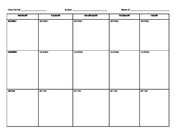 Lesson Plan Format for week
