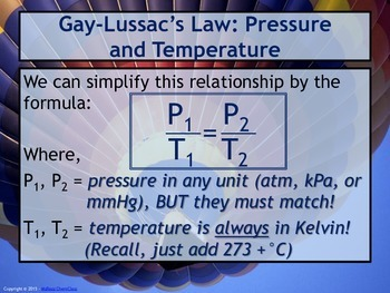 Lesson Plan: Gas Laws - Gay-Lussac and Combined