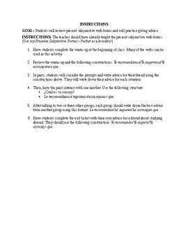 Lesson Plan  - Giving advice with the present subjunctive