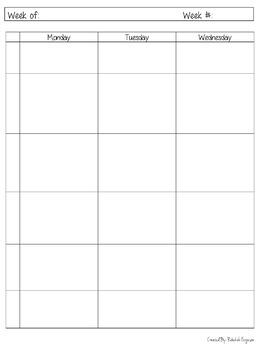 Lesson Plan Grade Book And Checklist Template Simple Easy Print B W