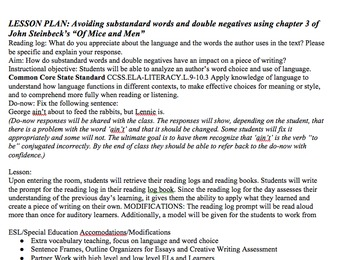 Lesson Plan & Handouts: Ain't & Double Negatives- Steinbeck Of Mice and Men