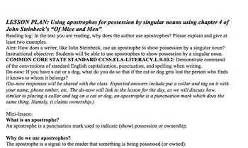 Lesson Plan & Handouts: Apostrophe Use- Steinbeck's Of Mice and Men