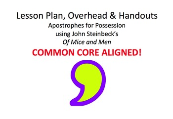 Lesson Plan & Handouts: Apostrophe Use- Steinbeck's Of Mic