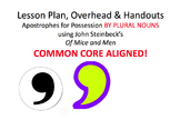 Lesson Plan & Handouts: Apostrophe for Possession by PLURAL NOUNS- Of Mice & Men