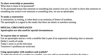 Lesson Plan & Handouts: Apostrophes for Special Use in Steinbeck's Of Mice & Men