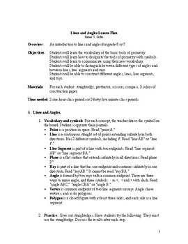 Lesson Plan--Intro to Lines and Angles