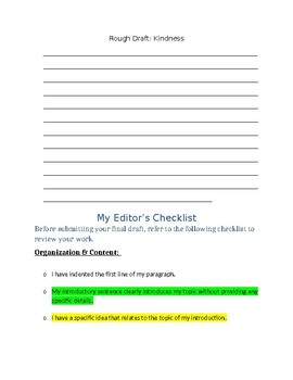 Lesson Plan   Kindness  Sub Folder Lesson   Secondary ELA   Character Education