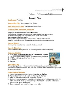 Lesson Plan Mommies and Babies for PreK 3-4 year olds Intergenerational Concepts