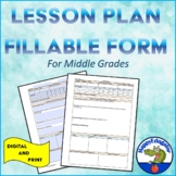 Lesson Plan Template or Outline for Middle Grades