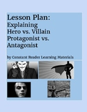 Lesson Plan & PPT Package Explaining Hero vs Villain Protagonist vs Antagonist