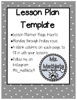 Lesson Plan Page Template