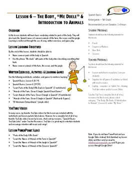 """Lesson Plan - The Body, """"Me Duele"""" & Introduction to Animals (Lesson 6)"""