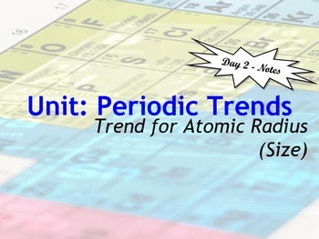 Lesson Plan: Periodic Table Trends - Atomic Size (Radius)