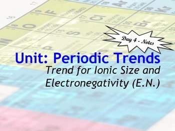 Lesson Plan: Periodic Table Trends - Ionic Size and Electronegativity