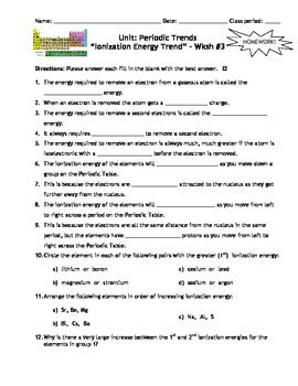 Chemistry ionization energy worksheet answers