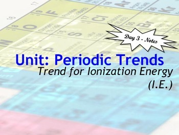 Ionization energy teaching resources teachers pay teachers lesson plan periodic trends ionization energy trend urtaz Image collections