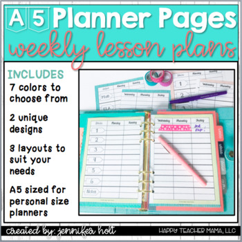 Lesson Plan Planner Pages {A5 Size}