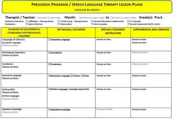 Lesson Plan Preschool Language & Literacy Template