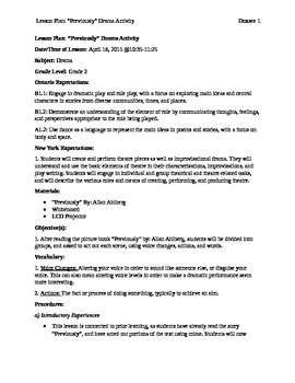 "Lesson Plan - ""Previously"" By: Allan Ahlberg - Grade 2"