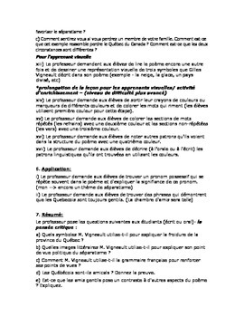 French Lesson Plan - Quebec Poetry FSL