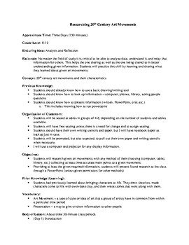 Lesson Plan - Researching 20th Century Art Movements