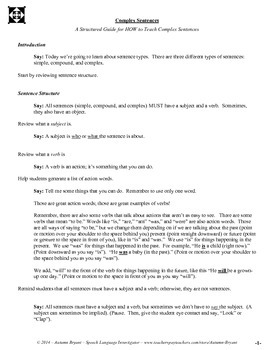 Lesson Plan - Script for HOW to Teach Simple, Compound and Complex Sentences