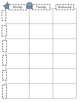 Lesson Plan Sheets with Blue Owls