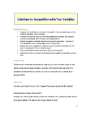 Lesson Plan: Solutions to Inequalities with Two Variables