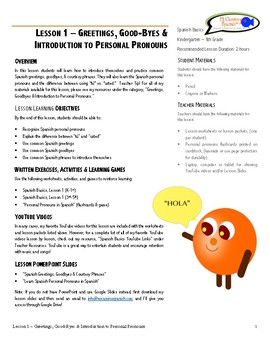 Lesson Plan - Spanish Greetings & Good-byes