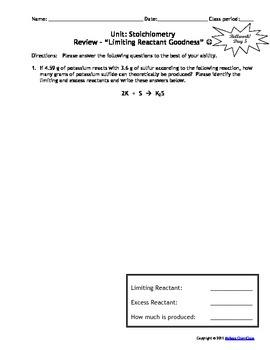 Lesson Plan: Stoichiometry-  Excess Reactant Calculations