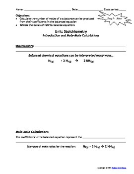 Lesson Plan: Stoichiometry - Mole-Mole Calculations by MsRazz ChemClass