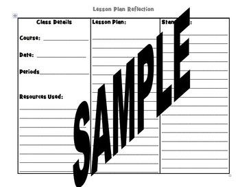 Lesson Plan Teacher Reflection Graphic Organizer Journal