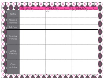 Planner Book Pages - Argyle