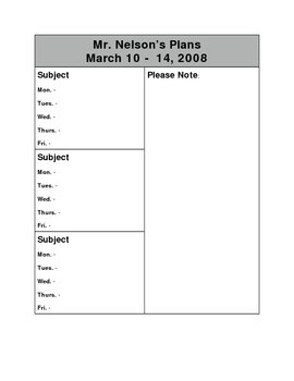 Lesson Plan Template # 1 for 3 subjects