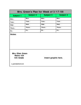 Lesson Plan Template # 10 ( for4 subjects)