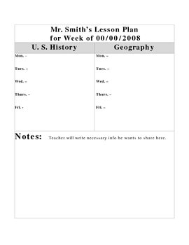 Lesson Plan Template # 12 ( for 2 subjects)