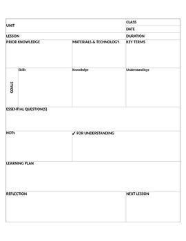 Editable Lesson Plan Template - Excel