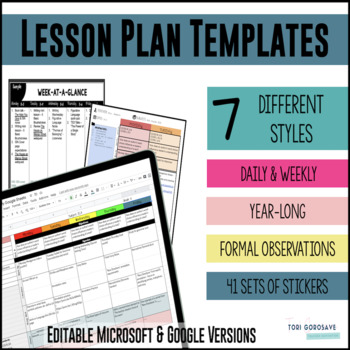 Lesson Plan Templates Google Digital Resource  Tpt