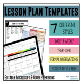 Lesson Plan Templates - Multiple Editable Templates {Googl
