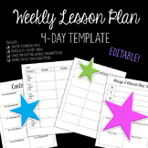 Lesson Plan Template - 4 Day Week EDITABLE