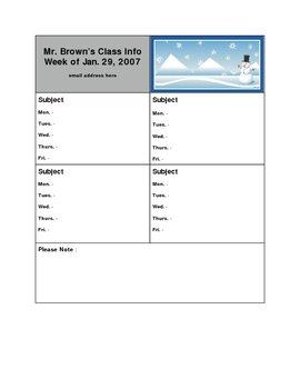 Lesson Plan Template # 7 (for 4 subjects)