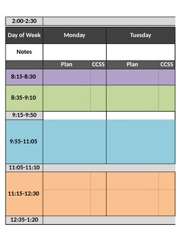 Lesson Plan Template - Cycle and Weekly Formats