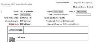 Lesson Plan Template DAILY created in Microsoft Word less descriptive
