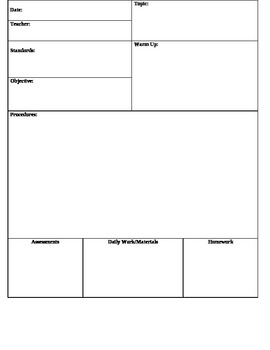 Lesson Plan Template Daily
