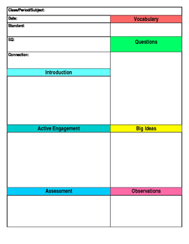 Lesson Plan Template - EDITABLE