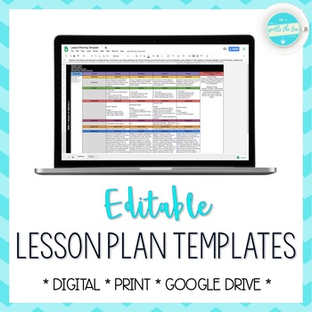 Lesson Plan Template Editable Google Drive By Mr C Spills The Tea